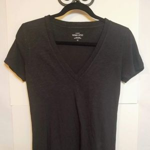 J Crew Vintage Cotton Black V Neck T Shirt Sz XS